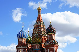 The colorful domes of a Russian Orthodox church